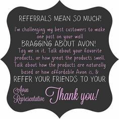 Refer people to my website and get a free gift! www.youravon.com/jskroback