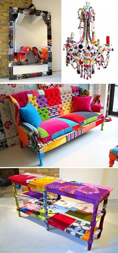 DIY Patchwork Sofa colors aren't all for me, but love the idea! Funky Furniture, Colorful Furniture, Furniture Makeover, Bedroom Furniture, Painted Furniture, Colorful Couch, Bedroom Sofa, Furniture Outlet, Discount Furniture