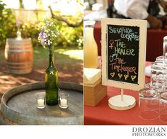 Loved the #wildflowers in #glassbottles at this #outdoor #vineyard #wedding ! It's also a super cute idea to have #signaturecocktails