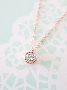 Simple Diamond Drop necklace - rose gold filled necklace, cubic zirconia pendant , crystal, chic, pretty, pink gold, www.colormemissy.com
