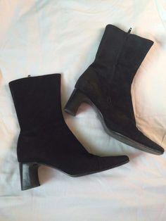 Women's Enrico Antinori Soft Suede Black Italian Leather Boots Size 38(7.5M) #EnricoAntinori #MidCalfBoots