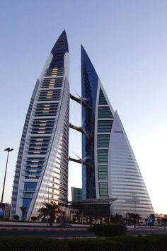 Bahrain World Trade Centre Manamah, Bahrain by Atkins. View from King Faisal highway | Archnet.