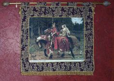 Finished as a tapestry, with a fabric border, gold braid, tassels, and fringe, and displayed on a fancy curtain rod.  This is Heraldic Chivalry - Alphonse Mucha (by Scarlet Quince).