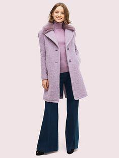 faux fur lapel coat   Kate Spade New York