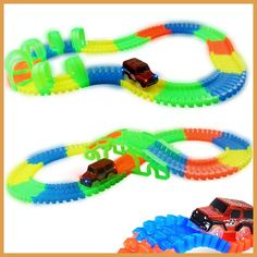 DIY Tracks Assembly Toy Slot Car Set with LED Car Flex glows in the dark Race Track Puzzle Toys Slot Car Gift for children kids