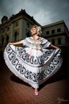Lady in her Panama Pollera (A Pollera is a Spanish term for a big one-piece skirt used mostly in traditional festivities and folklore throughout Spanish-speaking Latin America).
