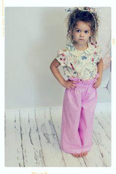 Dot on Dot Pink Ruffle Vintage Inspired Wide Leg Trousers Fleur + Dot
