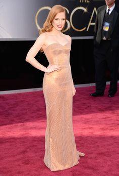 Jessica Chastain's custom-made, Giorgio Armani silk-satin strapless gown at the 2013 Oscars