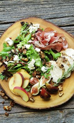 Summer Salad with Figs, Peaches, Prosciutto, Rosemary Roasted Chicken, Candied Pecans and Maytag Blue Cheese with Honey Balsamic Vinaigrette