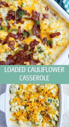 Loaded cauliflower casserole recipe with freshly chopped dill and cheddar cheese great for dinner or Thanksgiving and Christmas holidays by ilonaspassion.com I @ilonaspassion #cauliflower #loadedcauliflower #casserole #cauliflowercasserole #dinner