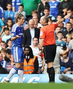24 Sept 2011 - Less than 10 mins after scoring, Torres received his marching orders after a dangerous two-footed tackle. Needless from Torres. Just as he was started to find his feet on the pitch. He'll be back though...