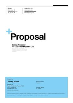 Suisse Design Proposal Template  Minimal and Professional Project Proposal template for creative businesses, created in Adobe InDesign and MS Word, it comes with 4 color variations (black, light blue, red and orange) and two paper sizes including US Letter and International A4.