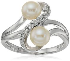 Sterling Silver Fresh Water Pearl and Created White Sapphire Two Stone Ring, Size 7 * You can find more details by visiting the image link.