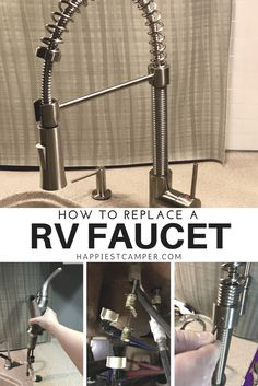 How to replace a RV Faucet. Install a new kitchen faucet in your RV. This new RV faucet made a huge difference in form and function. Love my RV faucet! Rv Camping, Camping Hacks, Glamping, Camping Ideas, Camping Essentials, Camping Outdoors, Camping Stuff, Family Camping, Wyoming