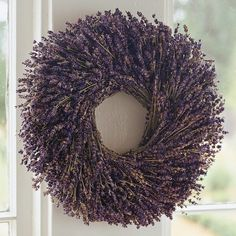 Ooh- this would look good on my yellow living room walls. :) Lavender Round Wreath #WilliamsSonoma