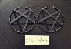 Black Leather Inverted Pentagram Hoop Earrings by GutsGlamGlory