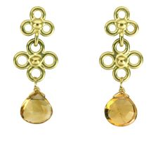 """""""Etruscan Double Dangle Earrings with Citrine"""" gold & citrine earrings created by artist Jessica Fields. Classic and elegant. These make a great everyday or special occasion earring."""