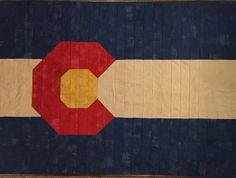 Colorado flag strip quilt made with Moda Grunge