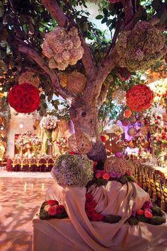 Tree with hanging flowers via David Tutera Event Photos Wedding Pics, Wedding Bells, Wedding Events, Wedding Reception, Wedding Flowers, Dream Wedding, Wedding Day, Weddings, Tulle Wedding
