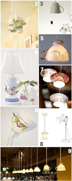 Tea cups as light fixtures- so cute for a cafe!!