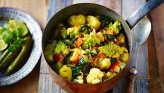 BBC - Food - Recipes : Saag aloo with roasted gobi curry