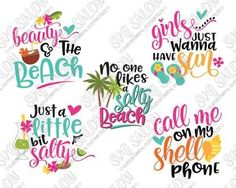 Girly Beach Bundle SVG Cut File Set for Cute Vacation Shirts and Onesies in SVG, EPS, DXF, JPEG, and PNG format for Cricut and Silhouette machines