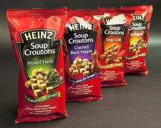 Heinz Soup Croutons packaging pillow bags.  #sachet #plastiques #plastic #bags #pillow #single #serve #emballage  #zip  #sacs#souple #packaging