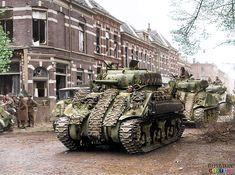 """captain-price-official: """" Canadian Sherman tanks from the Canadian Governor General's Horse Guards Armoured Regiment in the city of Arnhem during its liberation, April 1945 """" Image Avion, Canadian Army, British Army, Sherman Tank, Military Armor, Ww2 Tanks, Battle Tank, Military Diorama, World Of Tanks"""