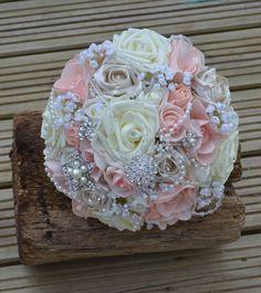 Wedding Bridal Peach Ivory Gems Brooch bouquet by FleurDeBeese