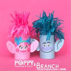 "Poppy and Branch have been ""tubified"" because I couldn't resist working in that fabulous hair. Give out Poppy and Branch as Troll-tastic Valentine's for Valentine's Day! Movie Crafts, Summer Crafts For Kids, Daycare Crafts, Fun Crafts For Kids, Toddler Crafts, Art For Kids, Easy Preschool Crafts, Spring Crafts, Poppy Craft"