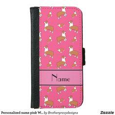 Personalized name pink Welsh corgi pembroke dogs iPhone Wallet Case Corgi Dog, Pembroke Welsh Corgi, Iphone Wallet Case, Phone Cases, Corgi Phone Case, Name Gifts, Monogram Gifts, Apple Iphone 6, Mans Best Friend