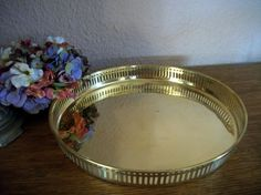 "Bar Tray VTG  India Brass Food Drink Serving Vanity Tab;e 13"" Round Gallery Rim  #unknown"