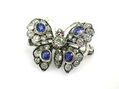 Antique Butterfly Diamond and Sapphire Pin