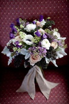 Purple and Cream Bouquet