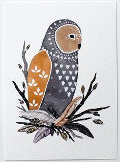 Owl Illustration Painting - Watercolor Art - Archival Print - Little Owl Manu by Marisa Redondo