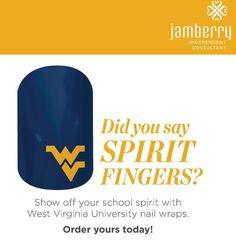 West Virginia University #nailwraps #jamberrynails #wvu http://melissanailedit.jamberrynails.net