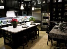[ Luxury Kitchen Black Cabinets White Countertops Cabinets Kitchen Black Kitchen Cabinets Ideas ] - Best Free Home Design Idea & Inspiration Dark Wood Kitchen Cabinets, Dark Wood Kitchens, Kitchen Cabinet Design, Black Kitchens, Kitchen Interior, New Kitchen, Cool Kitchens, Black Cabinets, Kitchen Black