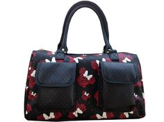 Disney Handbag - Minnie Mouse Rose Collage - Black and Red