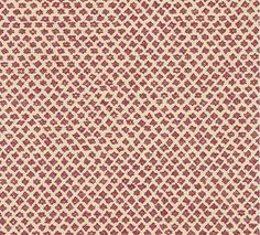 Marden Printed Cotton Fabric A star spot print in pink printed on a pale beige cloth.