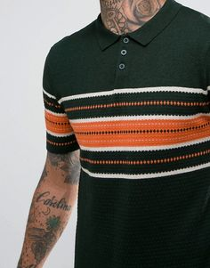 ASOS Knitted Polo Shirt With Texture In Green at ASOS. Shop this season's must haves with multiple delivery and return options (Ts&Cs apply). Best Polo Shirts, Asos, Men's Fashion, Casual Outfits, Men Sweater, Stripes, Texture, My Style, Green