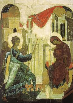 Annunciation, 1405 by Andrei Rublev. Cathedral of the Annunciation (Moscow Kremlin), Moscow, Russia Byzantine Icons, Byzantine Art, Russian Icons, Russian Art, Religious Icons, Religious Art, Andrei Rublev, Arte Latina, Archangel Gabriel