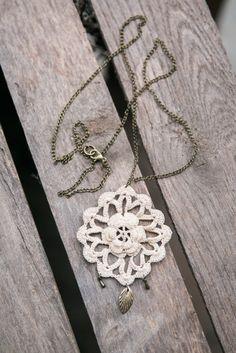Crochet + Bronze Necklace