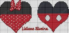 Minnie and Mickey Mouse x-stitch Cross Stitch Heart, Cross Stitch Alphabet, Modern Cross Stitch, Mickey E Minnie Mouse, Disney Micky Maus, Hand Embroidery Patterns, Embroidery Stitches, Crochet Patterns, Disney Quilt