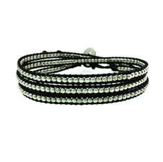 Bohemian Silver Metal Seed Bead Leather Wrap Bracelet - 6 Colors