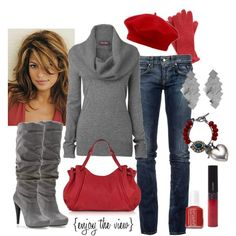 Grey sweater and red accessories