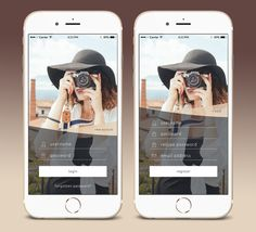 Login/Register screen for a travel&photography mobile app. Best App Design, Login Page Design, Arm Curls, App Login, Lift And Carry, How To Get Warm, Ui Inspiration, Stay Fit, Travel Photography