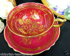 PARAGON TEA CUP AND SAUCER HOT RED & GOLD GILT WIDE MOUTH TEACUP ROSE BOUQUET