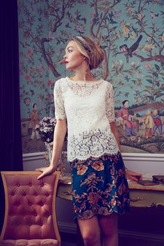 dont know whats better, the Rosette Skirt, hair or wallpaper??!!!!  #anthropologie