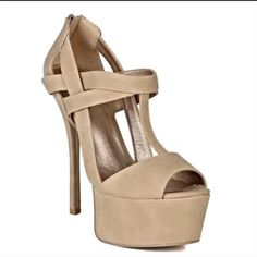 """Nude T-Strap Maryjane High Heels 6"""" heel & 2"""" platform - Extremely Versatile goes with almost any outfit - Nude color makes it a """"go-to"""" shoe for the transitioning season! Qupid Shoes Heels"""
