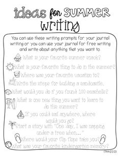 ideas for summer writing! Perfect since we have told all 6 they have to write in their journals at least 15 minutes a day. End Of School Year, Summer School, School Fun, School Stuff, School Ideas, Teaching Writing, Writing Activities, Writing Prompts, Writing Ideas